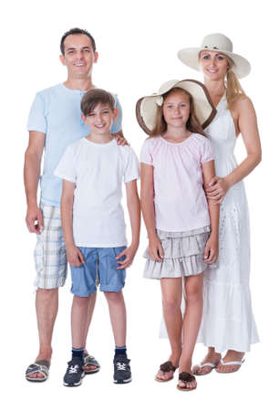 A Happy Family With Two Children Going For Vacation Isolated On White Background Stock Photo - 15574847