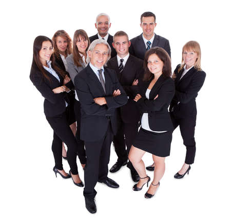 lineup: Lineup of diverse professional business executives or partners standing relaxed in a row isolated on white Stock Photo