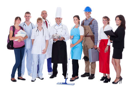 professions: Large group of people representing diverse professions including