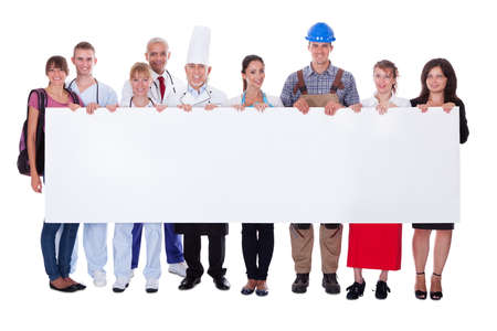 representing: Large group of people representing diverse professions including
