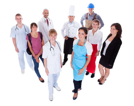 high angles: Large group of people representing diverse professions including