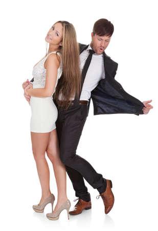 couple dancing: Bailando Pareja joven elegante. Aislados en blanco