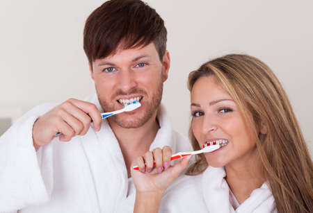 They brushed teeth together before taking shower.