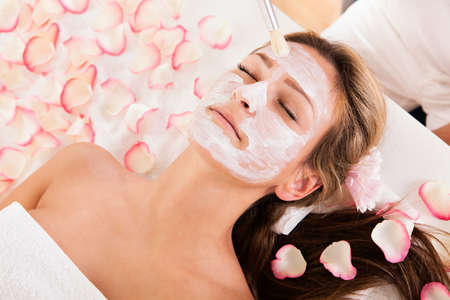 therapeutical: Beautician applying a face mask to a beautiful blonde woman lying relaxing in the salon with her eyes closed