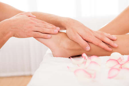 heal: Stressed toes needs to relax after busy work week. Stock Photo