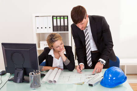 revised: Construction plans revised and signed for formal submission. Stock Photo