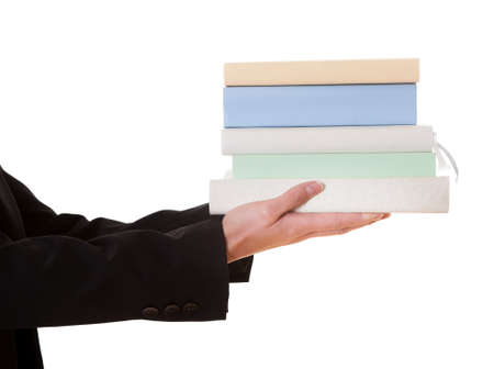univercity: Woman holding stack of books. Isolated on white