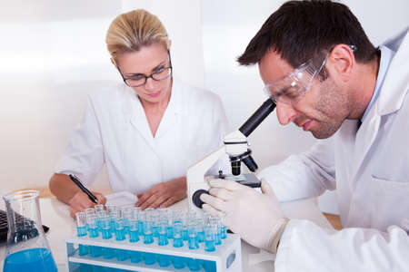 Technicians or medical staff in a laboratory working with test tubes in a rack reading samples under the microscope and recording results Stock Photo - 16886458