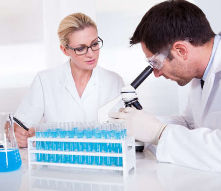 Technicians or medical staff in a laboratory working with test tubes in a rack reading samples under the microscope and recording results Stock Photo - 16874352