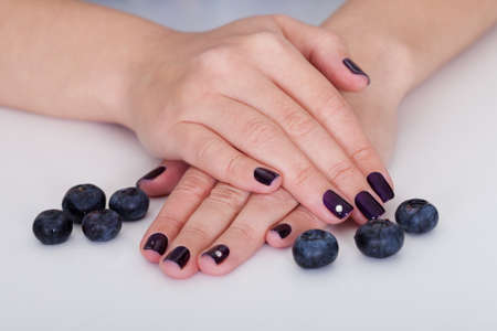 handcare: Fresh blueberries  surrounding the hand of a woman with beautiful purple nails Stock Photo