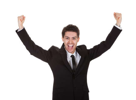 exultant: Portrait of excited businessman. Isolated on white