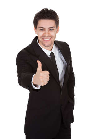 Portrait of excited businessman. Isolated on white Stock Photo - 17384605