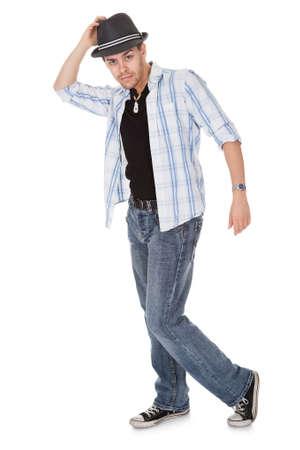 bailarin hombre: Bailar�n joven tocando su sombrero y un brazo extendido Foto de archivo