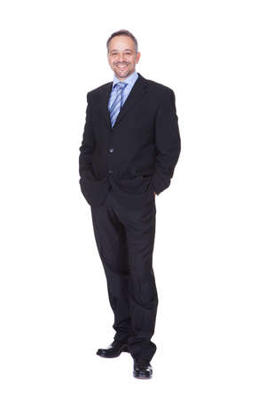 1 mature man: Portrait Of A Happy Business Man Isolated On White Background Stock Photo