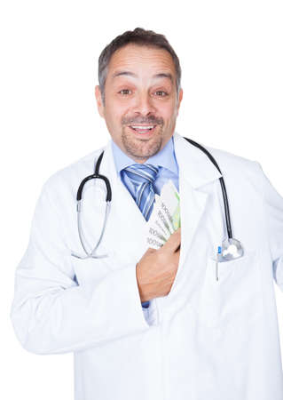 Happy Doctor Holding Euro Notes On White Background Stock Photo - 17501903