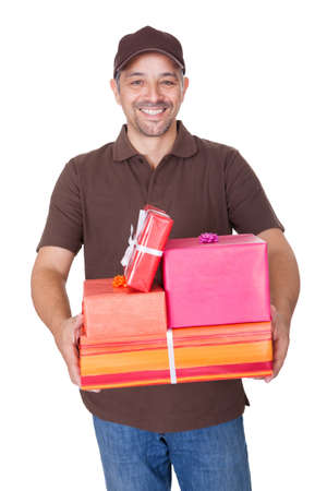 Portrait Of Happy Man Holding Gifts On White Background Stock Photo - 17501885