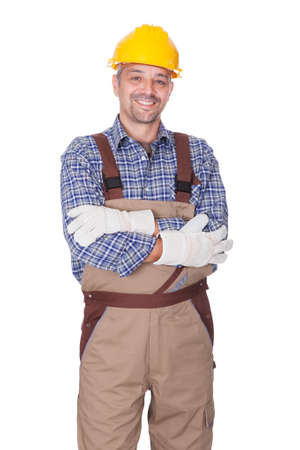 Portrait Of Happy Technician Isolated On White Background Stock Photo - 17501901