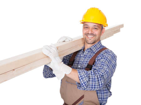 Portrait Of A Construction Worker Isolated On White Background Stock Photo - 17501898