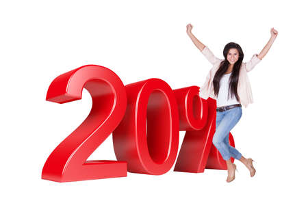 Exited Woman Jumping In Front Of 20% Sale Discount. Isolated On White Background photo