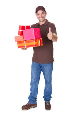 Portrait Of Happy Man Holding Gifts On White Background Stock Photo - 17626319