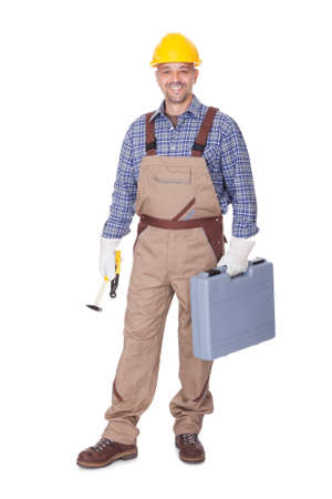 Happy Construction Worker Holding Toolbox On White Background Stock Photo - 17626338