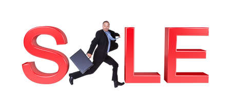 Businessman Running With Briefcase In Front Of Sale Sign. Isolated On White photo