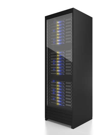 web server: Server rack image. Isolated on white background