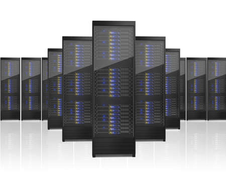 support center: Image of many server racks. Isolated on white background