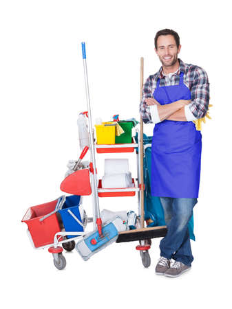 cleaning background: Man from professional cleaning service. Isolated on white