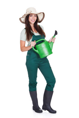 Beautiful Happy Woman Holding Watering Can. Isolated On White Stock Photo - 17626289