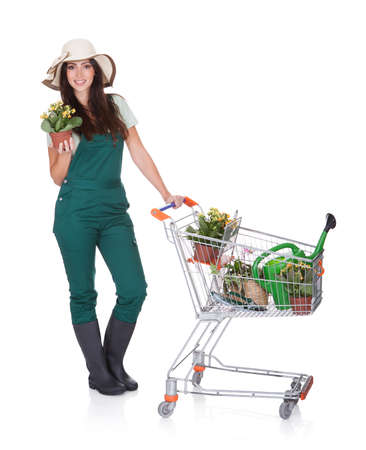 Smiling Attractive Woman Holding Shopping Cart. Isolated On White Stock Photo - 17626314