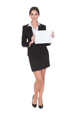 Happy Smiling Young Business Woman Holding Blank Placard. Isolated On White Stock Photo - 17626433