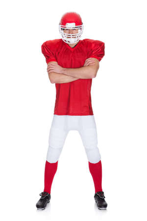 american football player: Portrait of American Football player. Isolated on white Stock Photo
