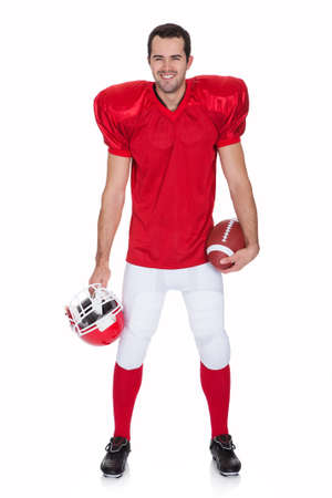 Portrait of American Football player. Isolated on white Stock Photo - 17626300