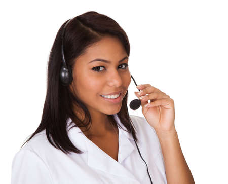 Happy Woman Wearing Headset. Isolated On White