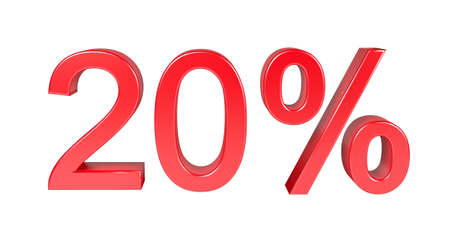 20: 20% Sale Discount. Isolated On White Background Stock Photo