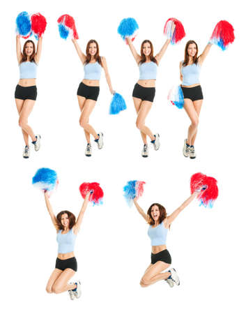 pom pom: Set of photos with beautiful cheerleader. Isolated on white background Stock Photo