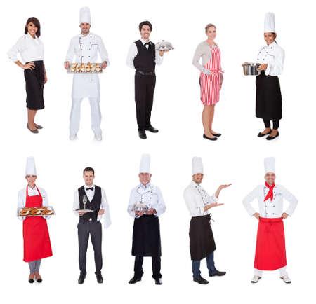 mesero: Trabajadores de restaurantes, cocineros, camareros y balas. Aislados en blanco