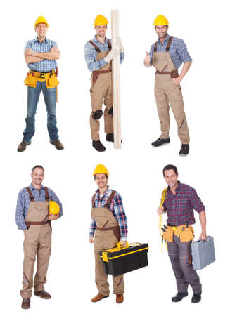 Industrial construction workers. Isolated on white background photo