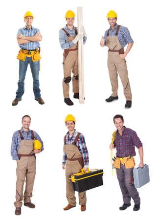carpintero: Los trabajadores industriales de la construcci�n. Aislado sobre fondo blanco