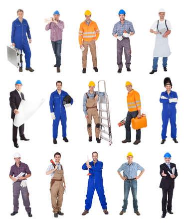 Industriële bouwvakkers. Geà ¯ soleerd op witte achtergrond Stockfoto