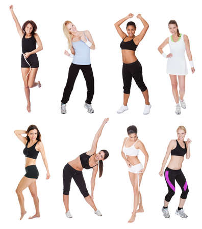 1 and group: Beautiful young fitness women. Isolated on white