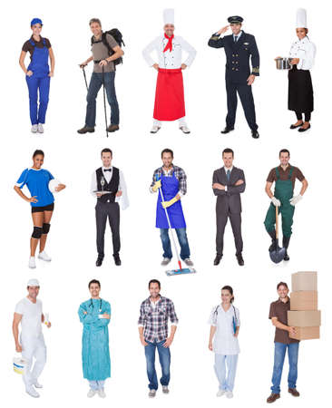 butler: Professional workers, businessman, cook, pilot, doctor, builders. Isolated on white