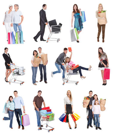 Shopping people with bags and baskets. Isolated on white photo