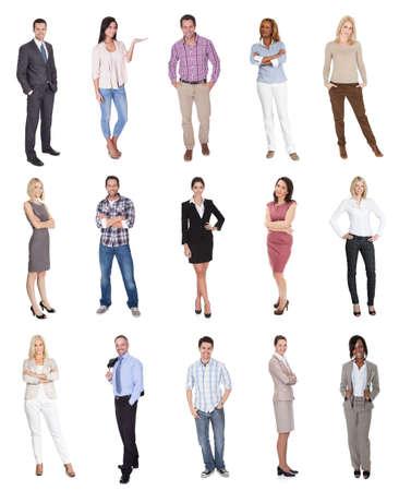 persona de pie: Retratos de personas elegantes. Aislado sobre fondo blanco Foto de archivo