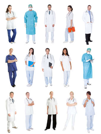 Medical workers, doctors, nurses. Isolated on white photo