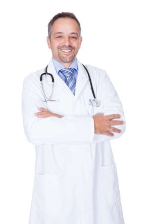 Portrait Of A Confident Doctor Isolated On White Background photo