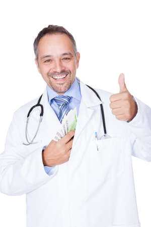 Happy Doctor Holding Euro Notes On White Background Stock Photo - 17738864