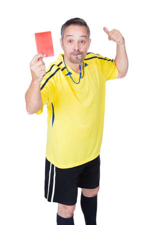 Soccer Referee Showing Red Card On White Background Stock Photo - 17738720