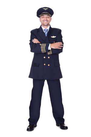piloto de avion: Retrato De Piloto Feliz En El Fondo Blanco